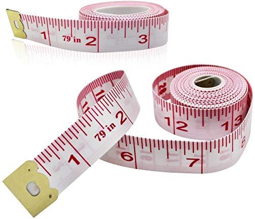 メジャー 巻尺 テープメジャー 裁縫 巻き尺 200cm 79inch 幅16mm 服 ウエスト メジャー tape measure テーラー縫製 バスト 体サイズ 両面目盛 コンパクト スリーサイズ 測定用 2セット