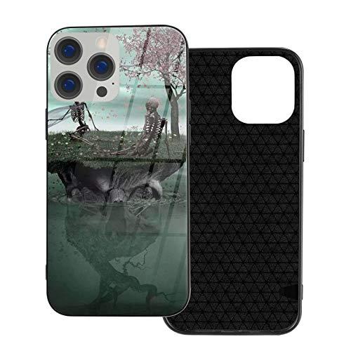 DOWNN Carcasa de cristal para iPhone 12, diseño de calaveras en 3D, flexible, suave, protección trasera de poliuretano termoplástico, protección contra golpes, para iPhone 12/12 Pro/12 Mini/12 Pro Max