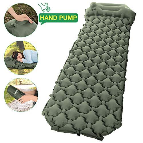 Relefree Camping Isomatte, tragbare feuchtigkeitsbeständige ultraleichte Schlafmatte, schnell aufblasbar mit Presspumpe, geeignet für Camping, Outdoor