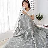 6-Layer Cozy Lightweight Muslin Cotton Blanket for Bed, Couch & Sofa, 100% Cotton ,Light and Breathable Double-Sided Blanket Bed Coverlet Sheet (Style Gray, (Queen 90'x90'))