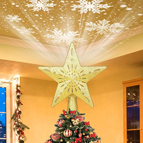 Vadeture Christmas Tree Topper, Christmas Decorations Gold Star Christmas Tree Topper with White Rotating Snowflake Projector, Christmas Decorations Indoor Christmas Tree Decorations