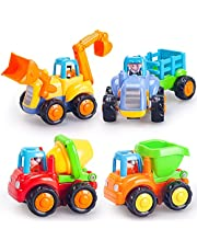 HOLA Inertia Toy Friction Powered Push and Go Cars Early Educational Engineering Vehicles Toys for Children Boys Girls Kids Gift Baby Toddler Tractor Bulldozer Dumper Cement Mixer 4PCS