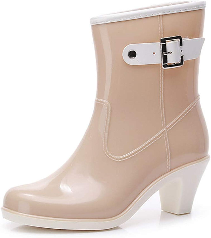 Fashion Buckle rain Boots Female Tube Adult Non-Slip rain Boots Rubber shoes(-