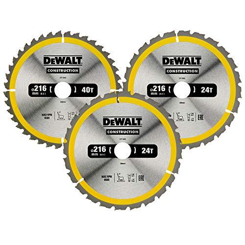 Dewalt Kreissägeblatt-Set 3er Pack, DT1962 (2x 216x30x2.6mm, 24, WZ, -5° und 1x 216x30x2.6mm, 40 WZ, -5°, nagelfest, für den Einsatz auf Stationärsägen)