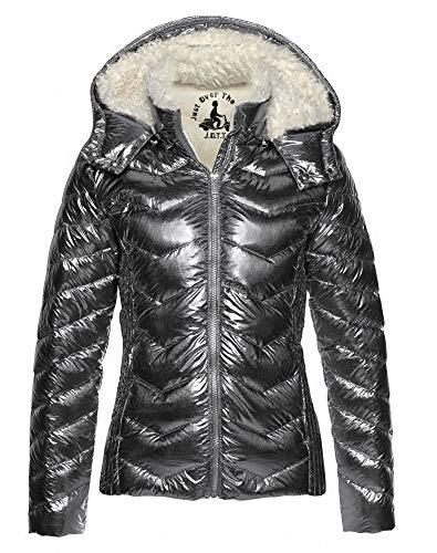 JOTT Damen Jacke Metalliclook Daunen Daunenjacke (Silber metallic, XL)
