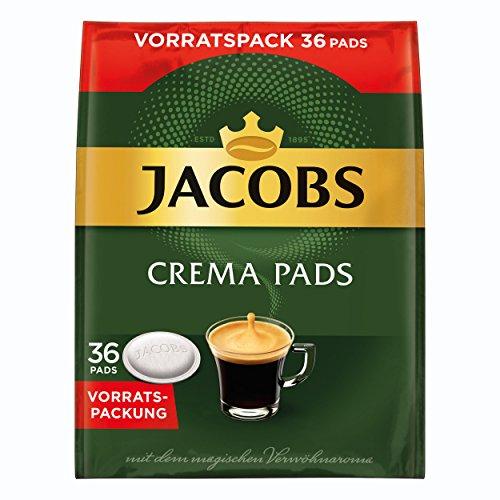 Jacobs Crema Kaffeepads, Vorratspackung, für alle Pad Maschinen, 36 Kaffee Pads, á 6.6 g