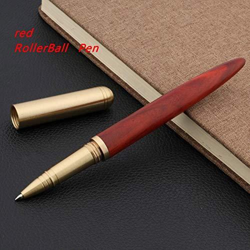 Fountain Pen Brass Ebony Red Tan Wooden Gift Golden Medium Nib Fountain Pen Fountain Pen (Color : Red Rollerball Pen, Size : Free)