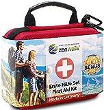 Erste Hilfe Set Wandern, Outdoor, Fahrrad & Reise Zubehör für die Erstversorgung der häufigsten Notfälle nach DIN 13167 - First Aid Kit für Ihre Sicherheit