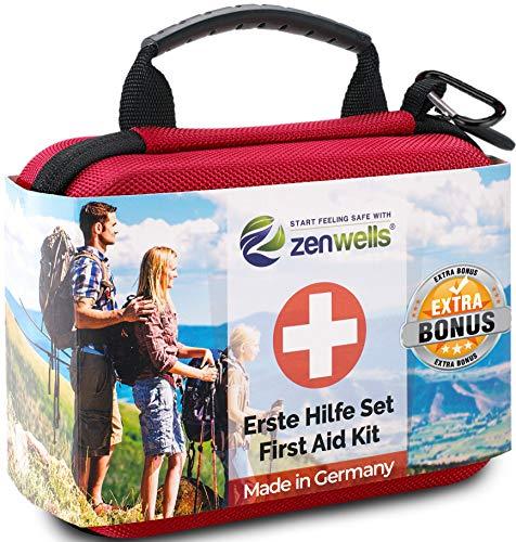 Erste Hilfe Set Outdoor, Verbandskasten Fahrrad, Wandern Zubehör für die Erstversorgung der häufigsten Notfälle - First Aid Kit für Deine Sicherheit