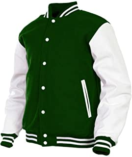 Men's Varsity Jacket Genuine Leather Sleeve and Wool Blend Letterman Boys College Varsity Jackets XXS-5XL