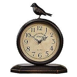 SHISEDECO Vintage Cottage Metal Table Clock with Bird, Retro Mantel/European Wrought Iron Metal Industrial Quartz Desk & Shelf Clock (G)