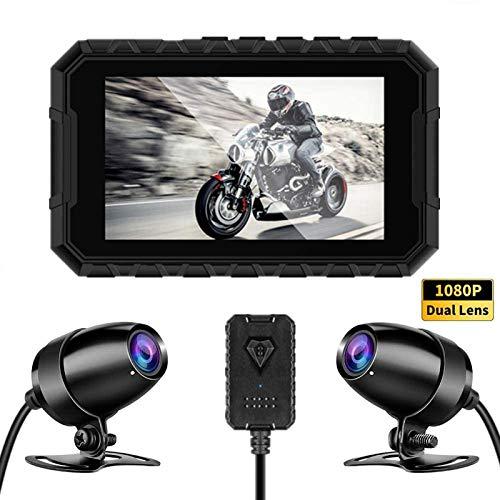 ALLWIN Leva Rociada Motocicleta Moto Doble 1080P 150 ° Lente Gran Angular DVR,Pantalla LCD HD 3', Soporte WiFi, GPS, Bloqueo Manual, Soporte Alimentación USB/DC, Expansión Almacenamiento MAX 128GB