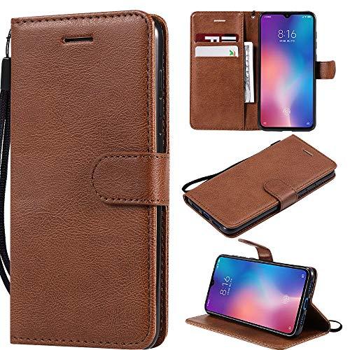 Capa Power K10, carteira de couro PU com suporte para cartão de crédito e flip macia TPU Shock Interior Capa para LG X Charge/Phoenix 2 - Marrom