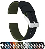 20mm Black/Army Green - Barton Elite Silicone Watch Bands - Quick Release - Choose Strap Color & Width