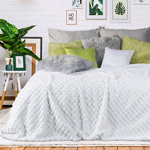 Eurofirany Decke, Tagesdecke, Weich, Kuschelig, Zweiseitig, Einfarbig, Gesteppt, Kelsi. (Weiß, 200x220 cm), Kunststoff