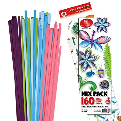 Papierstreifen-Mix, Set, von Karen Marie Klip, 5 Farben, 160 Streifen Pink/Aqua