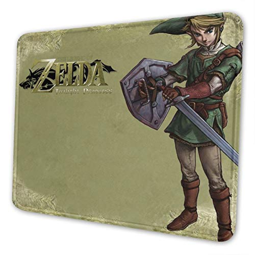 Link The Legend of Zelda: Twilight Princess Gaming Mouse Pad with Stitched Edge Premium-Textured Mat Non-Slip Rubber Base for Desktop Laptop Computers Keyboard Office 10×12 Inches