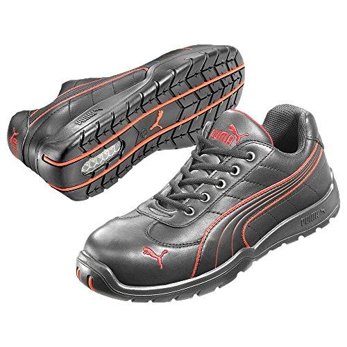 Puma Safety Shoes Daytona Low S3 HRO SRC, Puma 642620-210 Unisex-Erwachsene Espadrille Halbschuhe, Schwarz (schwarz/rot 210), EU 38