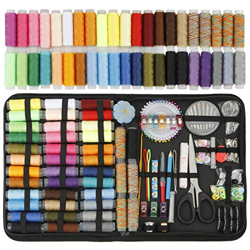 HuaQi Sewing Kit 215pack Sewing Accessories and Supplies with 42 XL Thread Spools, Sewing Needles, Scissors, Tape Measure, Thimble etc. for Traveler, Adults, Beginner, Emergency, DIY (XL-215pack)