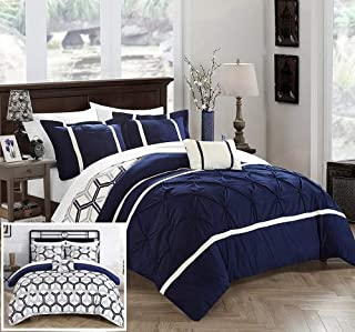 Chic Home 4 Piece Marcia Pinch Pleated Ruffled and Reversible Geometric Design Printed King Comforter Set Navy