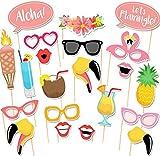 Veewon, 21accessori per travestimenti per foto, bomboniere, giochi, notte brava, addio al nubilato, stile tropicale hawaiano
