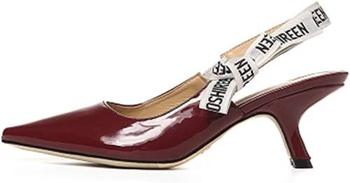 Sandales Stiletto Chaussures Les Les dames à Talons Hauts Escarpins Sandales à Talons Moyens pour Femmes Chaussures De Soirée Talons Chaton pour Femmes (Couleur   Vin Rouge, Taille   38 US7.5)