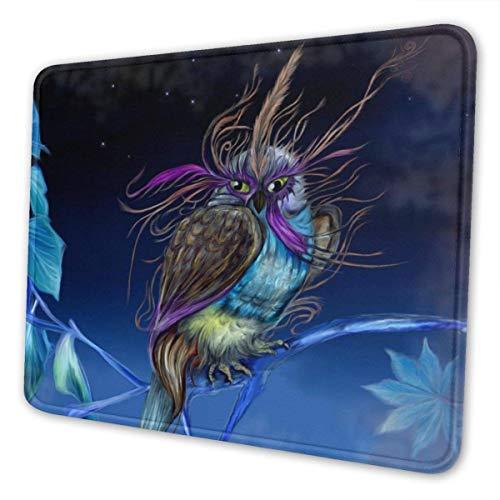 Gaming Mouse Pad Lila Eule mit Maske Nachthimmel Mousepad Rechteck Rutschfeste Gummi Mauspads Matte für Computer Laptop Office Home