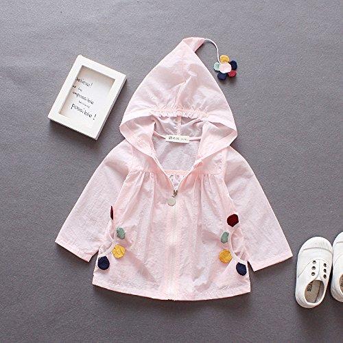DYY Cappotto estivo protezione solare abbigliamento protezione UV carino 1-3 anni,Rosa,90