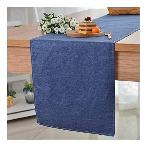 Gu3Je Home Plain Leinen Tischläufer Japanische Baumwolle Doppel-Tischläufer Home (Color : Navy Blue, Size : 30x200cm)