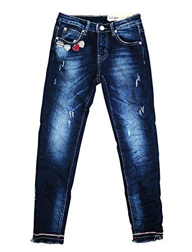 Wiya Damen Stretch Jeans Hose Reißverschluss Freizeithose (S, DY391)