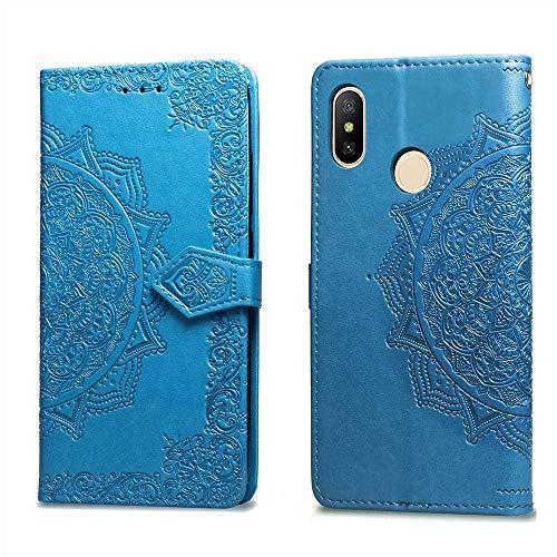 Bear Village Hülle für Xiaomi MI Max 3, PU Lederhülle Handyhülle für Xiaomi MI Max 3, Brieftasche Kratzfestes Magnet Handytasche mit Kartenfach, Blau