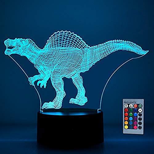 SOKY Spielzeug für Jungen 2-10 Jahre Mädchen, Dinosaurier 3D Illusionslampe für Kinder Geschenke für Kinder 2-10 Jahre 2-10 Jahre Jungen Geschenk Spielzeug Dinos Nachtlicht Zimmer Halloween