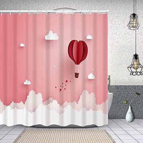 Cortina Baño,ilustración Amor día de San valentín Origami Hecho Caliente,Cortina de Ducha Tela de Poliéster Resistente Al Agua Cortinas de Ducha Baño con 12 Ganchos,180x180cm