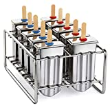 Awinking Set of 10 Stainless Steel Ice Lolly Popsicle Molds, Homemade Ice Pop Makers With Tray/100 Reusable Bamboo Sticks/20 Pop Bags/Cleaning Brush