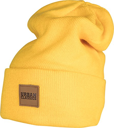 Urban Classics Leatherpatch Long Beanie Gorro de Punto, Amarillo (Chrome Yellow 1148), Talla única Unisex Adulto