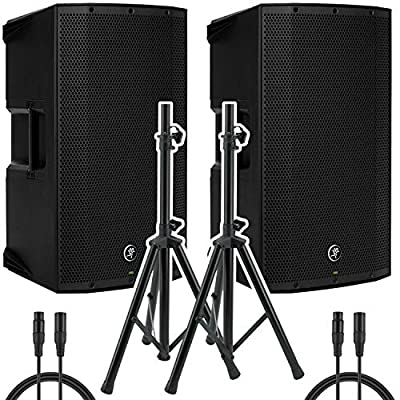"""Mackie Thump15A - 1300W 15"""" Powered Loudspeaker (Pair) with (2) Steel Speaker Stand and (2) XLR-XLR Cable, Black by Mackie"""