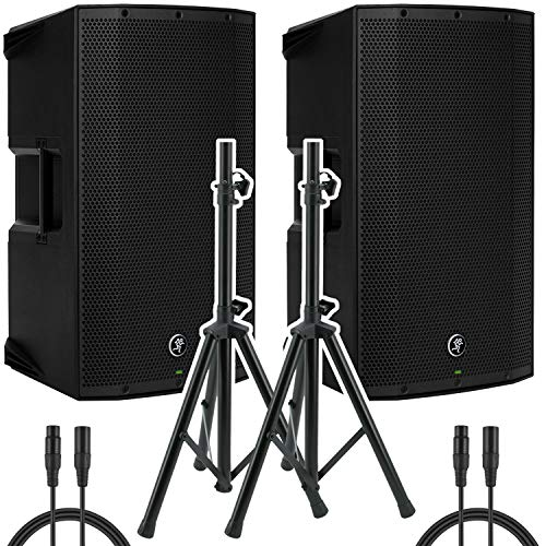 "Mackie Thump15A - 1300W 15"" Powered Loudspeaker (Pair) with (2) Steel Speaker Stand and (2) XLR-XLR Cable, Black"