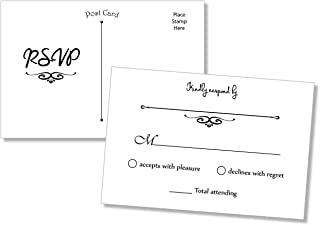 50 RSVP Postcards (Thick Card Stock) - Any Occasion - Response Card, RSVP Reply, RSVP for Wedding, Rehearsal Dinner, Baby Shower, Bridal Shower, Birthday, Engagement, Bachelorette Party Invitations