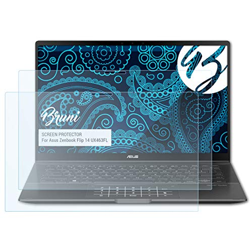 Bruni Schutzfolie kompatibel mit Asus Zenbook Flip 14 UX463FL Folie, glasklare Bildschirmschutzfolie (2X)