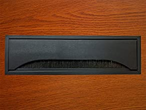 Rectangular Metal Table Grommet with Bristles - Color: Black