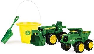 John Deere 15cm Sandbox 2 Pack Tractor & Dump Truck with Bucket Vehicle