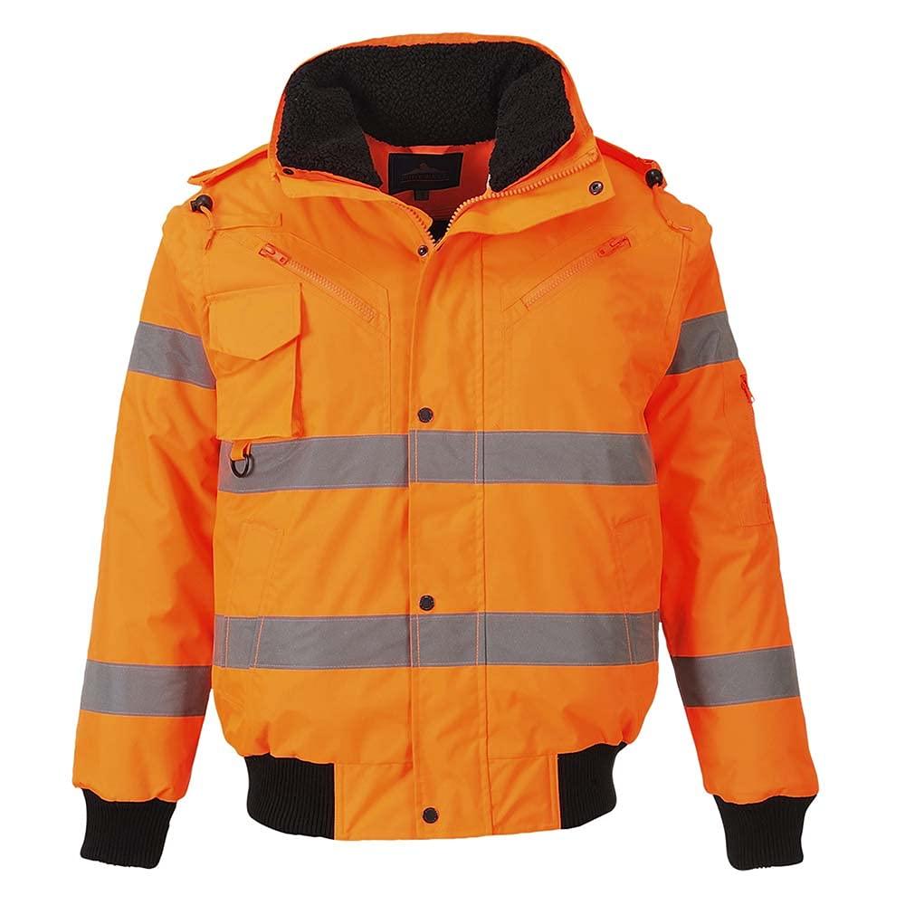 Portwest Workwear Mens Hi-Vis 3 in 1 Bomber Jacket Orange Small