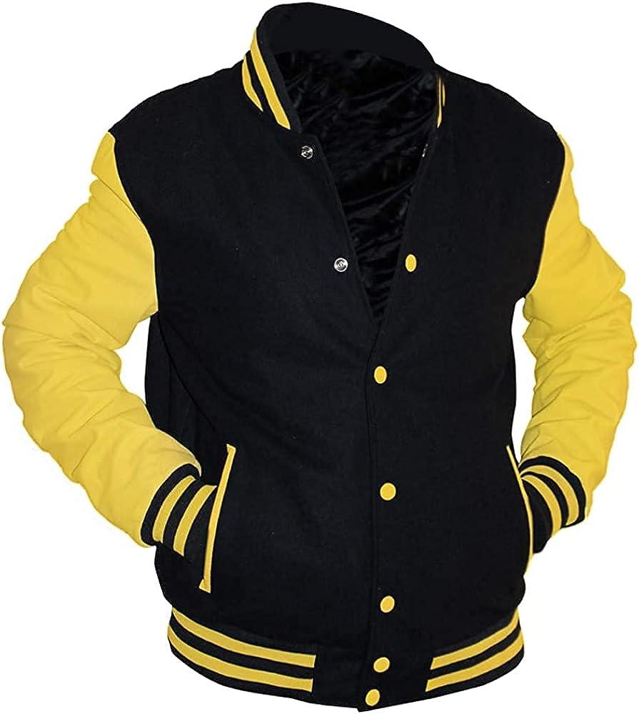 Yellow Max 82% OFF And Black Versity Tulsa Mall Jacket Men