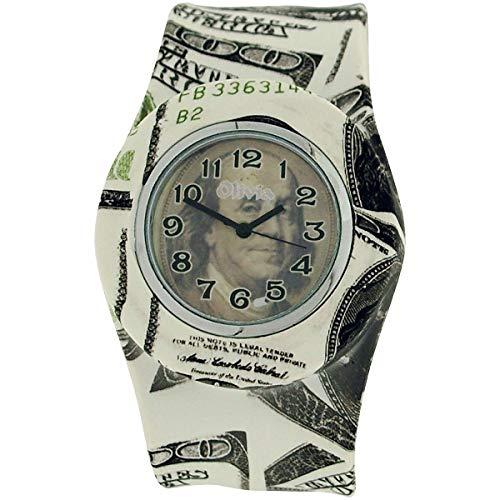 La Olivia Collection Montre Unisexe Originale Motif Dollars Bracelet-Claque en Silicone