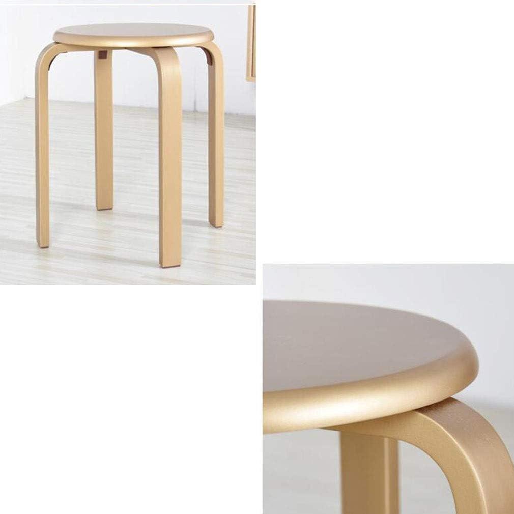 gzz Tabouret rond nordique en bois, tabouret empilable pour chaise couleur bonbon, tabouret en bois courbé naturel avec 4 pieds,Champagne Or Champagne Or
