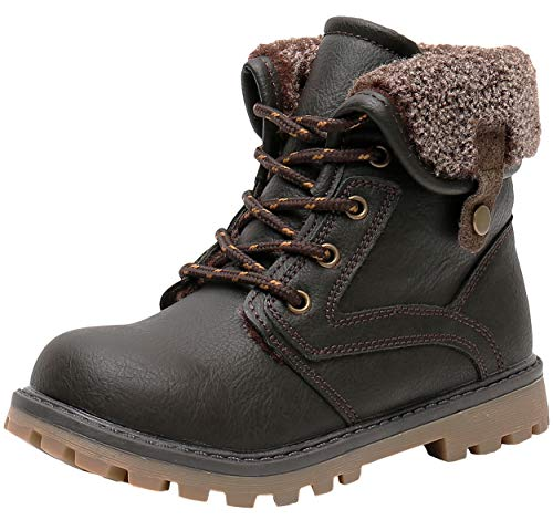 Ahannie Kids Winter Snow Boot with Side Zipper, Boys Warm Insulated Ankle Boot(Toddler/Little Kid) (Color:Brown)