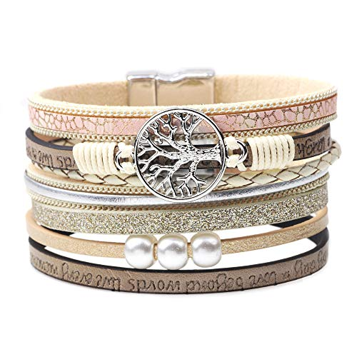 León Jewelry Boho Style Multiple Rows Bracelet Women Girls Leather Cuff Multilayers Wrap Tree of Life Emblem Pearls Magnetic Buckle Wide Wristband Bangle