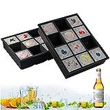 GoZheec Eiswürfelform XXL Silikon, 2 Stück Eiswürfelschalen 12 Fach Silikon Eiswürfelbehälter LFGB Zertifiziert BPA Frei 5cm Eiswürfel Form für Bier, Whisky, Pudding oder Babynahrung (Schwarz)