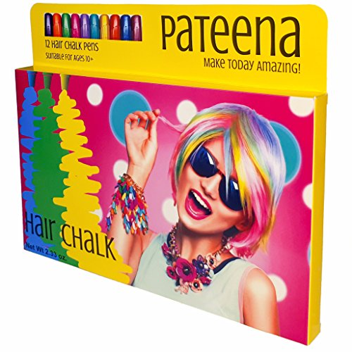Hair Chalk for Girls, Temporary Hair Color for Kids, 12 Hair Color Pens - Perfect Accessories for Girls, Birthday Gifts for Any Age or Just for Pretty Pink Hair, Easy to Use Hair Chalk for Kids