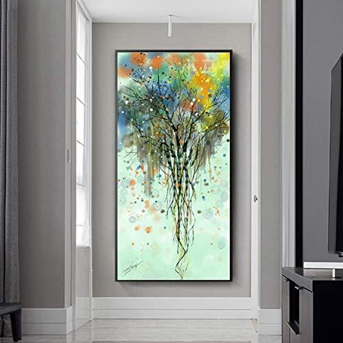 wekeke Cuadros de Lienzo Pintura nórdica Abstracto Colorido árbol Rico Cartel Lienzo Pintura Cuadros de Pared para Sala de Estar decoración del hogar-50X100Cm sin Marco